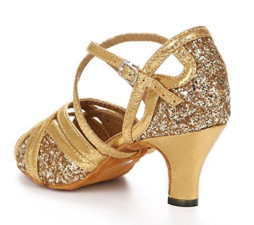 Comfort Sequins Prom Wedding Toe Social Glitter Heel Tango MGM Shoes Party Salsa Dance Modern Gold 6cm Women's Dance Sandals Joymod Peep Latin xEwqaxWFYZ