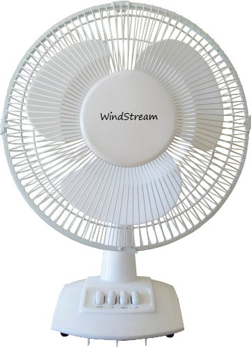 Windstream 12 Inch Desk Fan   Floor Fan  Oscillating  White  Strong Durable Steel Safety Grill  Big Wind For Its Size  Keeps You Cool For A Low Cost  1 077 Cubic Feet Per Minute Ul Listed