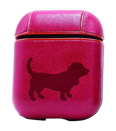 Basset Hound Silhouette (Vintage Pink) Air Pods Protective Leather Case Cover - a New Class of Luxury to Your AirPods - Premium PU Leather and Handmade exquisitely by Master Craftsmen
