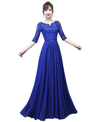 Drasawee Womens Middle Sleeve Lace Chiffon Prom Wedding Evening Dresses Elegant V-Neck Long Formal