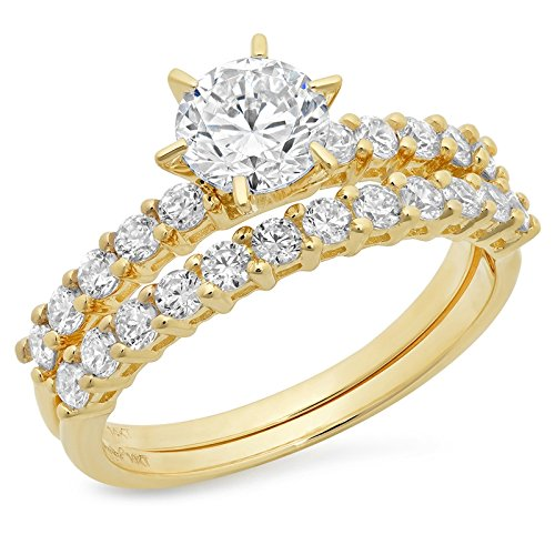 Clara Pucci 3.1 CT Round Cut Pave Halo Bridal Engagement Wedding Ring band set 14k Yellow Gold, Size 6 (Six Prong Pave Set)