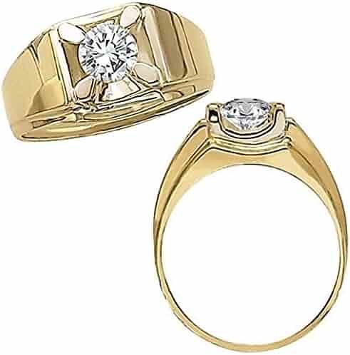 0.50 Carat G-H Diamond Solitaire Engagement Anniversary Fancy Mens Man Ring 14K Yellow Gold