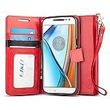 Moto G4/G4 Plus Hülle, J&D [Handytasche mit Standfuß] [Slim Fit] Robust Stoßfest Aufklappbar Tasche Hülle für Motorola Moto G4, Moto G4 Plus - Rot