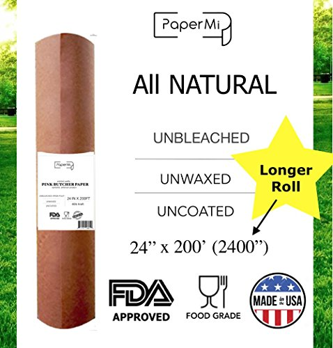 "Pink Butcher Kraft Paper Roll 24"" x 200' (2400"") – USA Made, All Natural Peach Wrapping Paper for Beef Briskets, BBQ Meat Smoking – FDA Approved Food Grade, Unbleached, Unwaxed, Uncoated Sheet"