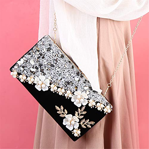 Black Handbag Evening Wome Wedding Crystal Clutches Bags Bridal Velvet Evening Women Female ULKpiaoliang Flower Bag Vintage BwZAT