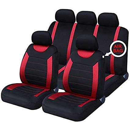 UKB4C Car Seat Covers Set Front & Rear Complete With Headrest Covers & Airbag Compatible