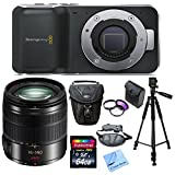 Blackmagic Design Pocket Cinema Camera, With Panasonic LUMIX G VARIO 14-140mm f/3.5-5.6 ASPH. POWER O.I.S. Lens (Black), 3 Piece Filter Kit 58mm, 64GB High Speed Memory Card, Camera Wrist Strap, Premium Storage Case, Full Size Tripod, Lens Cleaning Kit an