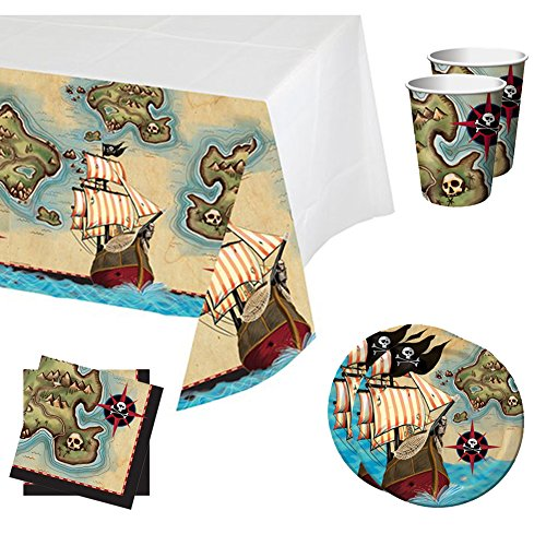 Pirate's Map Party Bundle for 16 Guests: Table Cover, Beverage Napkins, Dessert Plates, and Cups -