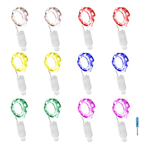 LXS 12PCS Pack Fairy Lights Battery Operated 7.2 20 LED String Lights Firefly Lights 8 Colors Halloween Lights Copper Wire LED Lights DIY Wedding Dinner Party Bedroom Christmas Decor(6 Colors)