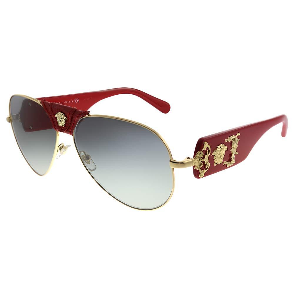 Baroque VE 2150Q 100211 Gold Red Leather Metal Aviator Sunglasses Grey Gradient Lens