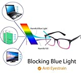 Cyxus Blue Light Filter Computer Glasses for Blocking UV Headache [Anti Eye Eyestrain] Transparent Lens, Unisex (Men/Women) (Gradient Pink Frame)