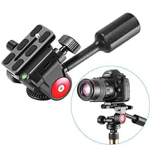 Neewer Single Handle Tripod Ball Head Three-Dimensional 360 Degree Rotation, with 1/4-3/8 Inches Screw for Tripod Monopod Camera Bracket Light Stand, Max Load 22 Pounds/10 Kilograms(Red+Black) from Neewer