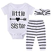Ant-Kinds 0-18M Infant Newborn Baby Girl Arrow Romper + Long Pants + Headband Layette Set (0-3M, Arrow+Stripe)
