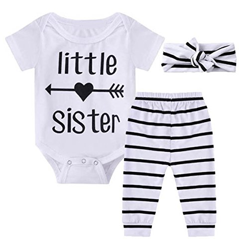 Layette Apparel (Ant-Kinds 0-18M Infant Newborn Baby Girl Arrow Romper + Long Pants + Headband Layette Set (3-6M, Arrow+Stripe))
