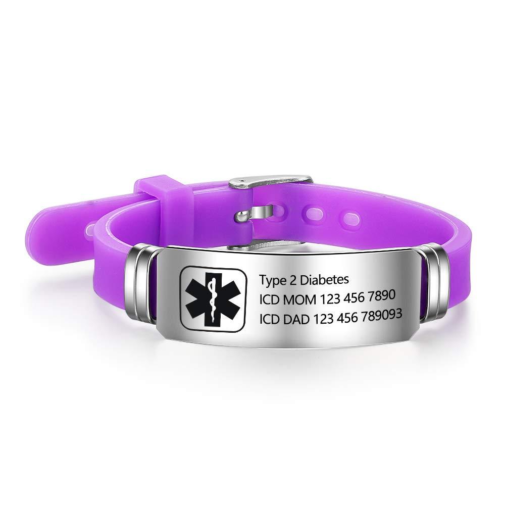 Lam Hub Fong Free Engraving 9 Inches Silicone Adjustable Medical Bracelets Emergency ID Bracelets for Men Women Kids Stainless Steel Rubber Alert Bracelets (Purple)
