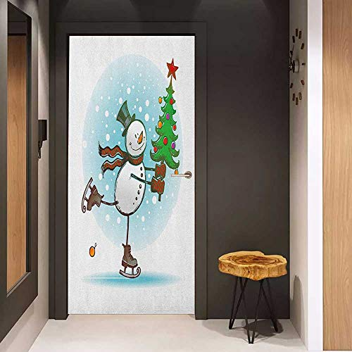 Papa Snowman - Onefzc Front Door Sticker Snowman Hand Drawn Style Skating Snowman with Christmas Tree and Hat Cold Winter Snowfall for Home Decor W31 x H79 Multicolor