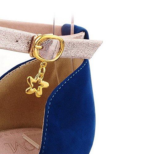 Farben feste Sandalen High Womens Metallkette Wildleder Blau Open verschiedenen VogueZone009 Heel imitiert Toe aus und mit xqR7CnURW