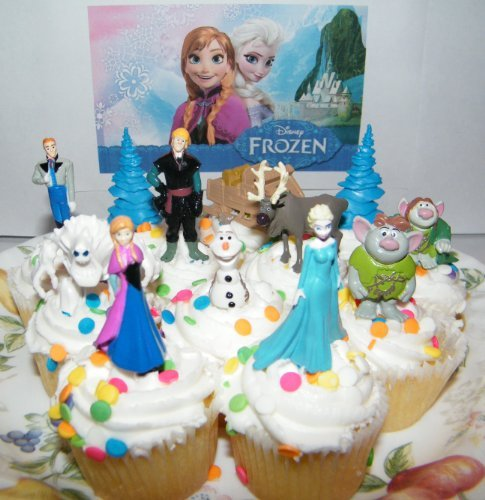 Disney Frozen Movie Figure Deluxe Cake Toppers / Cupcake Party Favor Decorations Set of 12 with Anna, Elsa the Snow Queen, Olaf, Reindeer, Ice Sled, Trees, Snow Monster, Trolls and More! ()