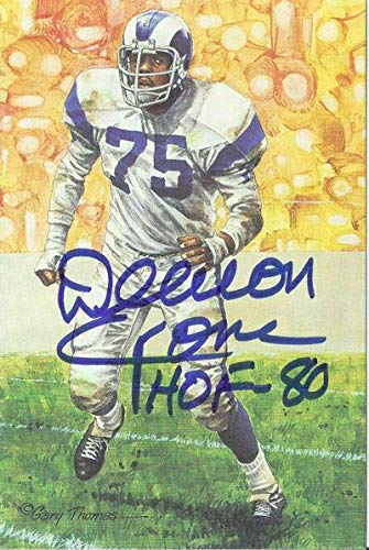 Deacon Jones Autographed Los Angeles Rams Goal Line Art in Blue HOF 11878 - Original NFL Art and Prints ()