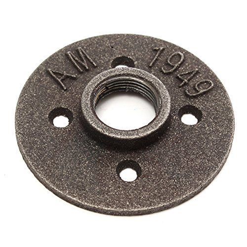 3/4' Malleable Iron (KINGSO 3/4'' 4 Holes Black Malleable Threaded Floor Flange Iron Pipe Fittings Wall Mounted Black)