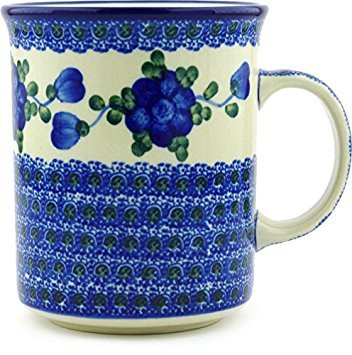 Polish Pottery Coffee/Tea Mug 20 oz Blue Poppies (Large Pottery Mug Polish)