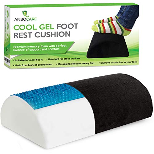 AnboCare Foot Rest Cushion Under Desk - Premium Cool Gel Half Moon Footrest Pillow - Foot Stool Relief Leg Feet and Knee Pain - Hypoallergenic Bolster with Supportive High Resilience Memory Foam