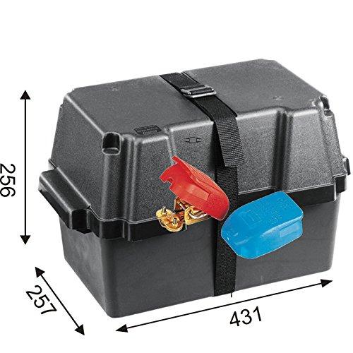 Batteriekasten mit Befestigungsgurt 431 x 257 x 256 mm /für Batterien 339 x 199 x 224 mm + Polklemme mit Schnellverschluss