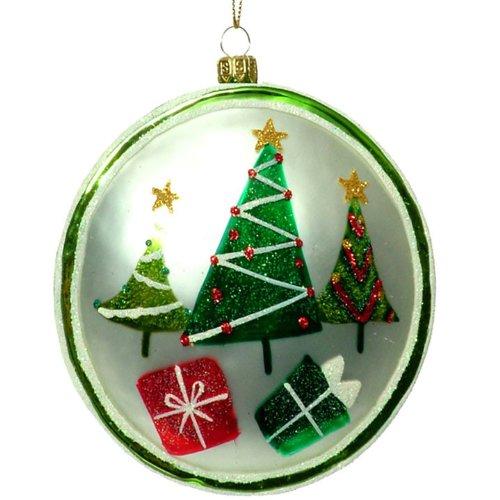 Glass Disc Ornament - RAZ Imports - Christmas Tree and Present Glass Disc Ornament 4.5