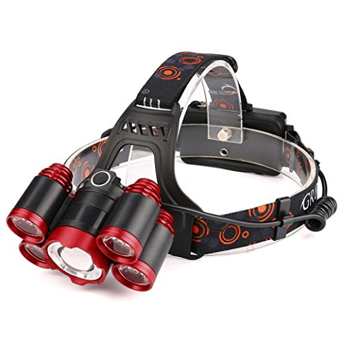 mitlfuny 35000lm 5x Cree XM-L T6LED Ampoule de lampe de phare tête lumineux 18650–Idéal pour le camping, la randonnée et promenade avec chien, multicolore