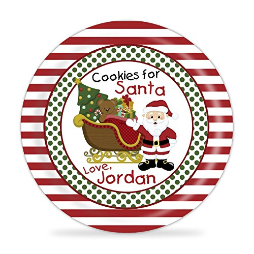 Cookies for Santa Personalized Plate - Santa Sleigh Christmas Kids Melamine Personalized Plate