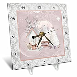 3dRose Beverly Turner Christmas Design - Pink Birds at Birdhouse, White Christmas Tree, Gifts, Merry Christmas - 6x6 Desk Clock (dc_272716_1)