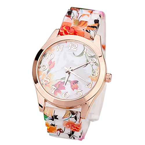 Womens Flower Watches,COOKI Unique Analog Fashion Clearance Lady Watches Female watches on Sale Casual Wrist Watches for Women,Round Dial Case Comfortable Silicone Watch-H17 (Orange)