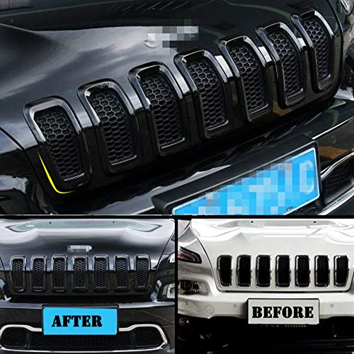 Grille Trim - CD-Parts Fit 2014-2018 Jeep Cherokee 7pcs Black ABS Front Grille Inserts Grill Frame Trim