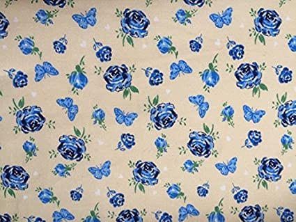 Polycotton Fabric NEW CRAFT Floral VINTAGE RED ROSE Metre Material Special Offer