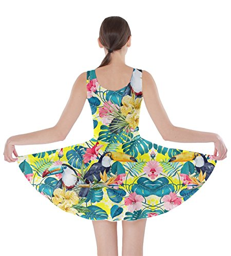 5XL Leaves Summer CowCow Flowers Hibiscus Hawaii Tropical Hawaii Yellow Womens Party Skater Dress XS Floral wYpg7Sx