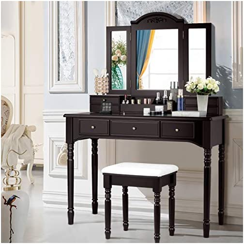 CHARMAID Vanity Set with Tri-Folding Mirror & 8 Necklace Hooks, 7 Drawers, 2 Dividers, 6 Desktop Makeup Organizers, Makeup Dressing Table with Cushioned Stool for Women Girls