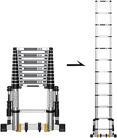 WGOOGA Escalera telescópica Escalera Alta Extensible con pie de Soporte Fijo Antideslizante Escalera Plegable de Aluminio Escalera de construcción for Loft al Aire Libre (Size : 3.5m/11.5ft): Amazon.es: Hogar