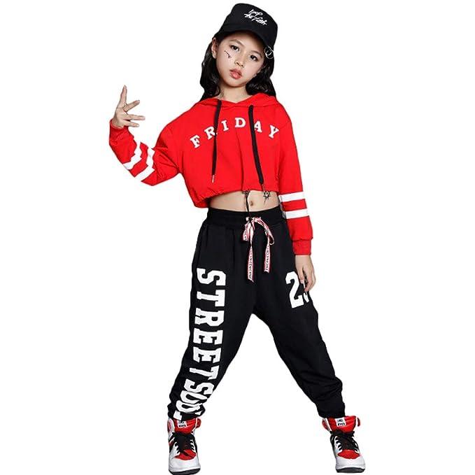 79b217babbba Amazon.com: Girls Mordern Jazz Dance Outfit Kids Street Dancewear Hoodies  Pop Dance Costume (12, red): Clothing