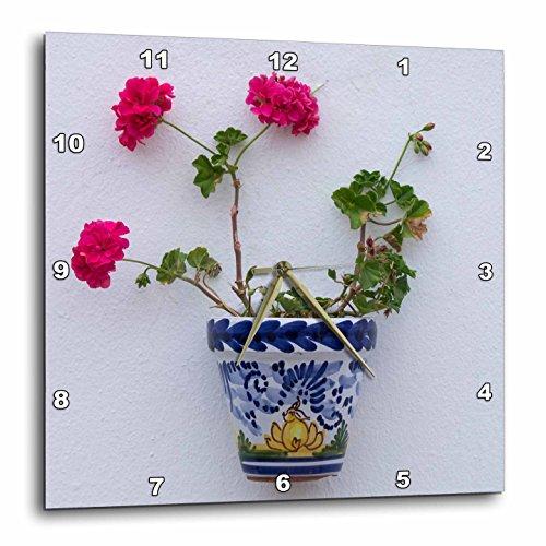 3dRose Danita Delimont - Flowers - Spain, Andalusia. Arcos de la Frontera. Painted ceramic flower pot. - 10x10 Wall Clock (dpp_277888_1) by 3dRose