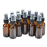 12 Pack,1oz Amber Glass Bottle Bottles with Black Fine Mist Sprayer.Refillable & Reusable.Designed for Essential Oils, Perfumes,Cleaning Products,Aromatherapy.12 Chalk Labels as gift.