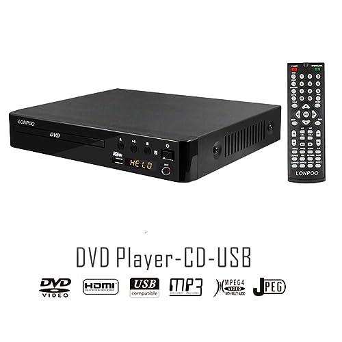 LONPOO Lecteur DVD Compact, Multi-Régions 1/2/3/4/5/6, Port USB, Télécommande, Câble Audio RCA Connexion TV, Divx, Port HDMI, Port MIC (Noir)