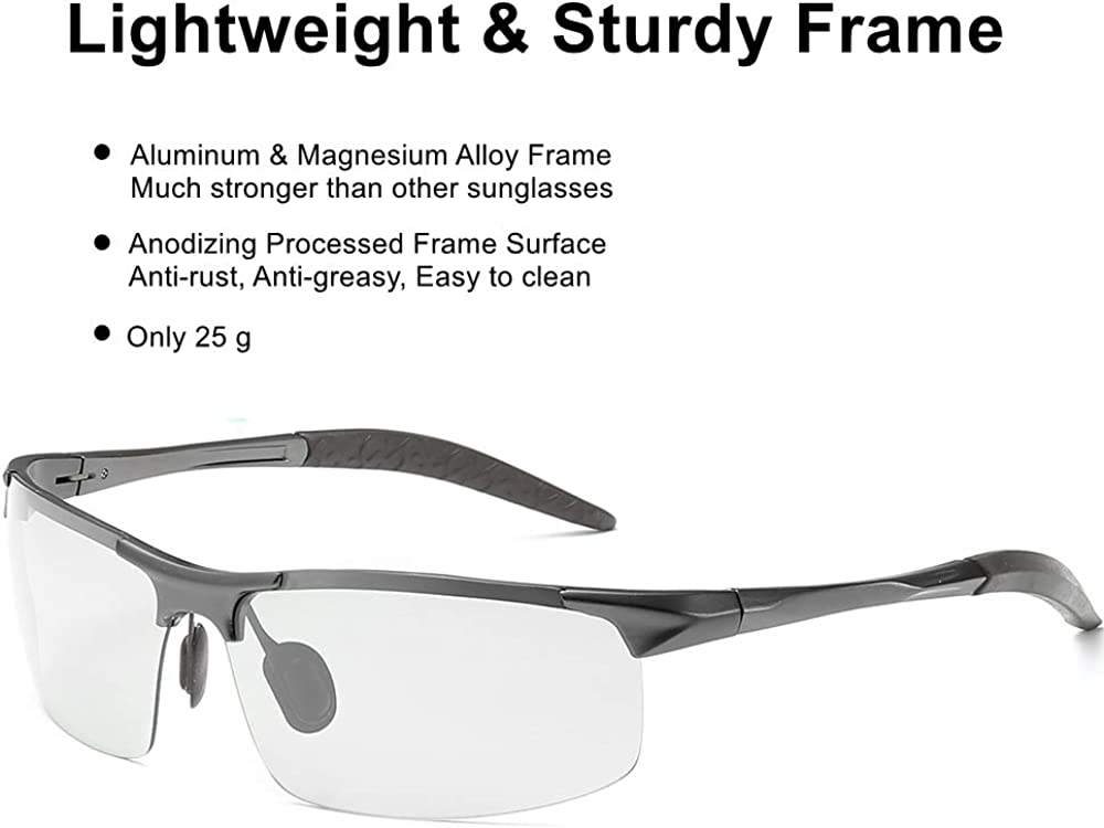 Occhiali da sole fotocromatici per la guida di sport allaperto con telaio AL-MG Occhiali da sole polarizzati ZealBea Uomo Anti-riflesso ultra-leggera Protezione UV400