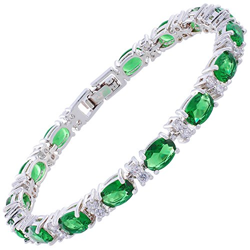 Infinity Emerald Bracelets (Oval Cut Simulated Green Emerald and White Cubic Zirconia 18K White gold Plated Tennis Bracelet, 7