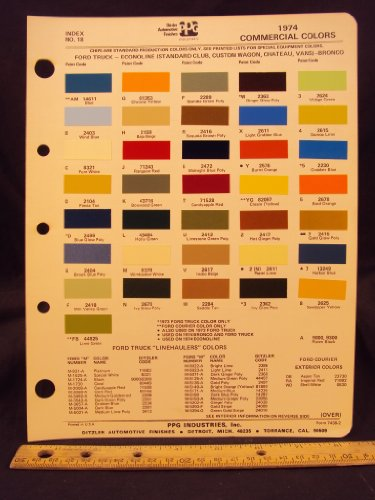 1974 FORD Truck, Econoline Van (Standard Club, Custom Club, Chateau), & Bronco Paint Colors Chip Page