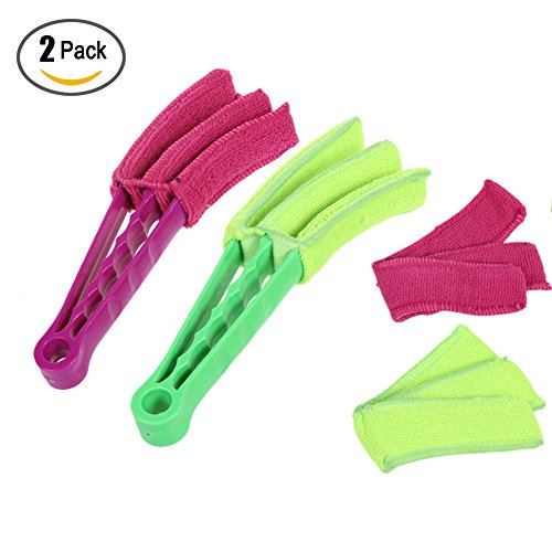 Shutter Wholesale Shades (2 Packs Window Shades Blind Brush Air Conditioner Duster Cleaner Car Jalousie Shutter Blind Cleaner Tools with 2 Microfiber Sleeves)