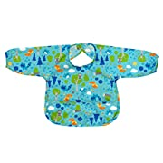 green sprouts Easy-Wear Long Sleeve Bib, Aqua Forest, 12-24 Months