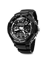 TOPCABIN Digital-Analog Boys Girls Sport Digital Watch with Alarm Stopwatch-50m Water Proof Silver