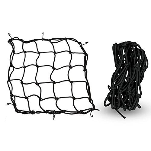 OOFIT 12'' X 12'' Cargo Net For Motorcycle Bike Luggage Helmet Storage Holder Bungee Mesh Package Carrier with 6 Adjustable Hooks Black