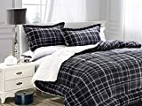 Elegant Comfort  Softest, Coziest Heavy Weight Plaid Pattern Micromink Sherpa-Backing Premium Quality Down Down Alternative Micro-Suede 3-Piece Reversible Comforter Set, King/Cal King, Grey