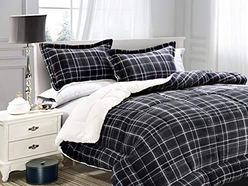 Elegant Comfort  Softest, Coziest Heavy Weight Plaid Pattern Micromink Sherpa-Backing Premium Quality Down Down Alternative Micro-Suede 3-Piece Reversible Comforter Set, Full/Queen, ()